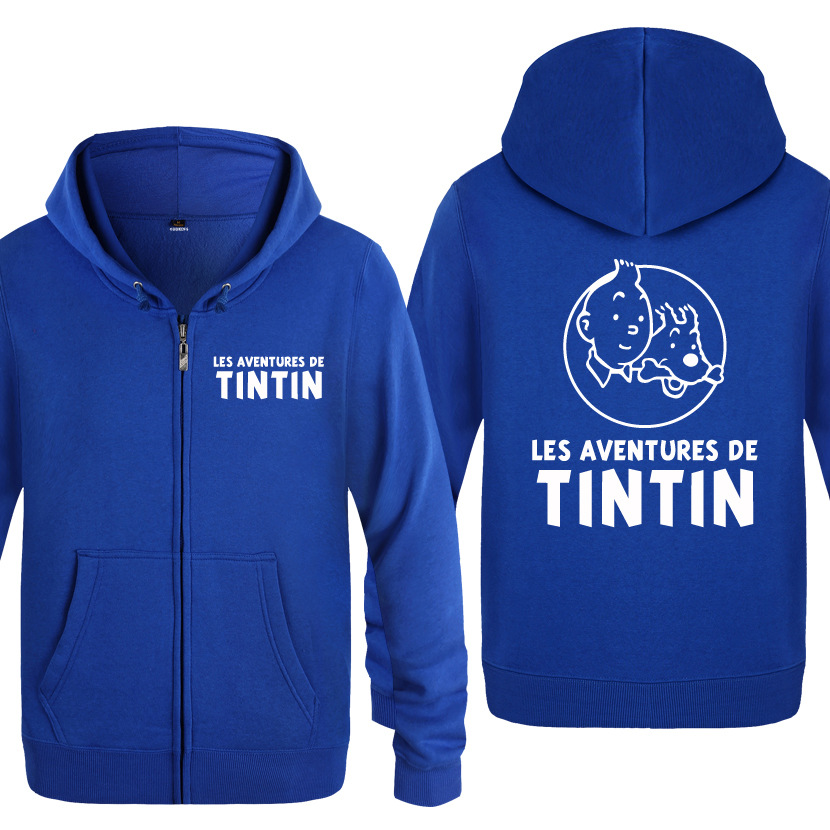 Zipper Hoodies Men Tintin Adventure Printed Anime Cartoon Mens Hoodie Funny Fleece Long Sleeve Man's Jacket Sweatshirt Coat New