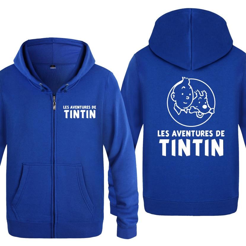 Zipper Hoodies Men Tintin Adventure Printed Anime Cartoon Mens Hoodie Funny Fleece Long Sleeve Man's Jacket Sweatshirt Coat New