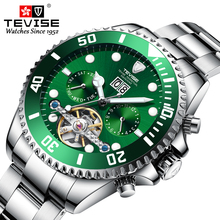 TEVISE Mechanical Watch Men Stainless Steel Waterproof Business Mechanical Wristwatch Brand Luxury Men Watches Tourbillon Clock