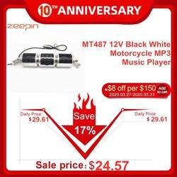 MT487 12V negro blanco motocicleta MP3 reproductor de música Bluetooth Estéreo altavoz FM con pantalla LED impermeable