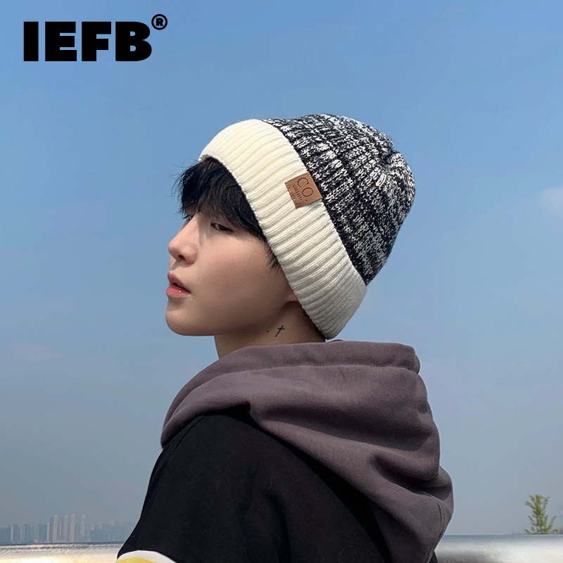 IEFB Fashion Plush Contrast Letter Paste Cloth Caps Men's New Outdoor Thickened Keep Warm Knitting Hats Tide Autumn Winter 2021