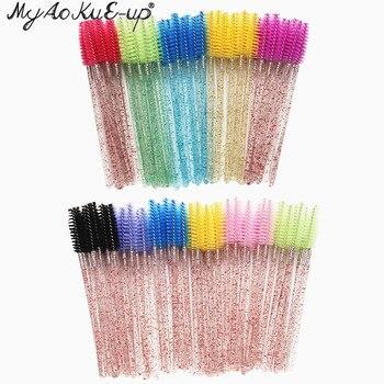New Crystal Eyelashes 150 pcs Diamond handle brush Mascara Wands Applicator Cosmetic Brush Disposable Make Up brushes Tools