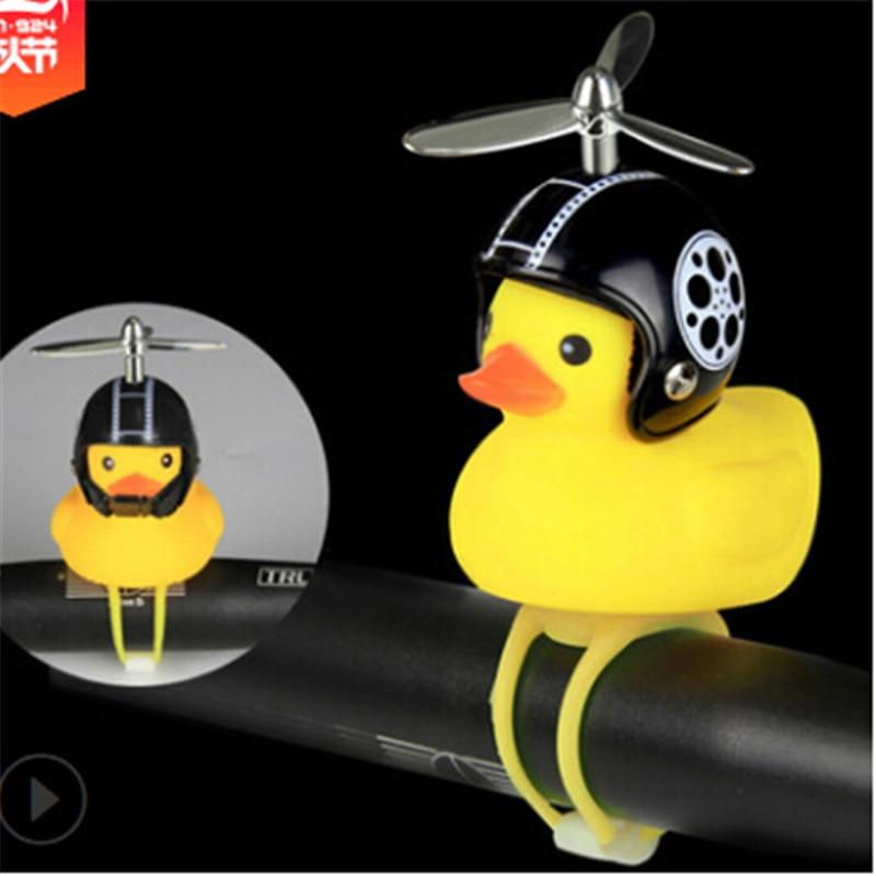 1PCS Little Duck Bicycle Bell With Bike Light Silica Gel MTB Road Bike Motor Helmet Riding Cycling Accessories Handlebar Bell fm