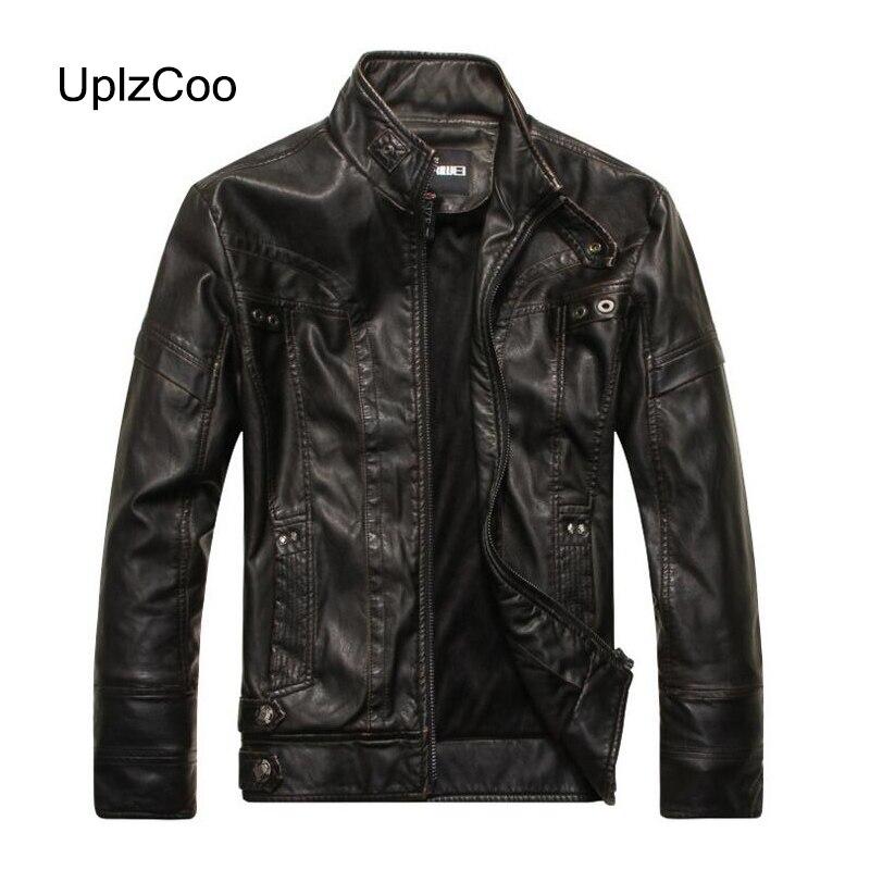 UplzCoo 2019 Autumn Winter Men's  PU Leather Jacket Zipper Coat Button Warm Casual Male Fit Slim Coat Men's Clothing 5XL FM168