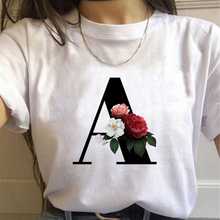 Vogue 26 Alphabet  Letter With Flowerswomen T-shirt Harajuku Casual White Tops Tees Women 2020 New Summer Casual Female T-Shirt
