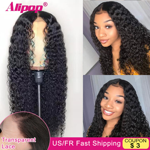Curly Human Hair Wig 13x6 Curly Lace Front Wig Remy HD Transparent Lace Frontal Wigs Alipop Lace Front Human Hair Wigs For Women(China)