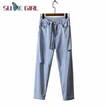Sudie girl 2020 новые летние рваные джинсы с высокой талией