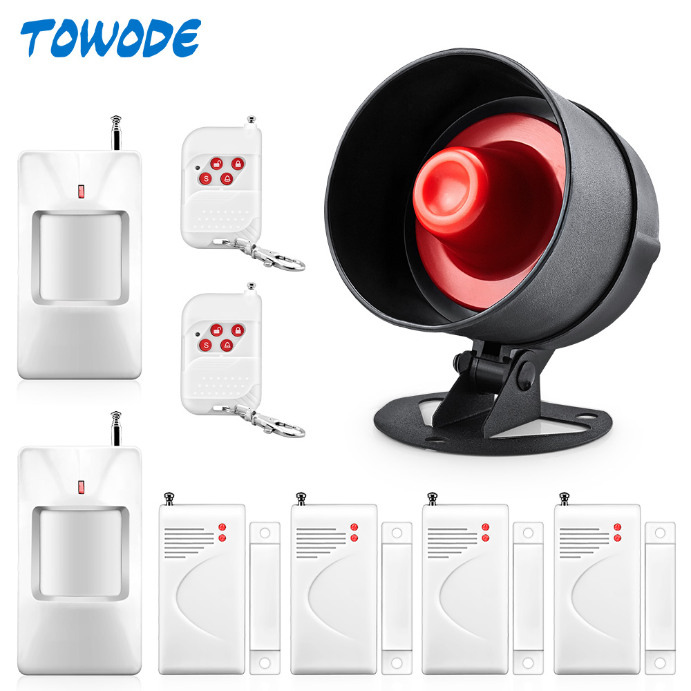Towode 110dB Wireless Loudly Siren Alarm System Security For Home House Burglar Alarm Security PIR Detector Door Sensor