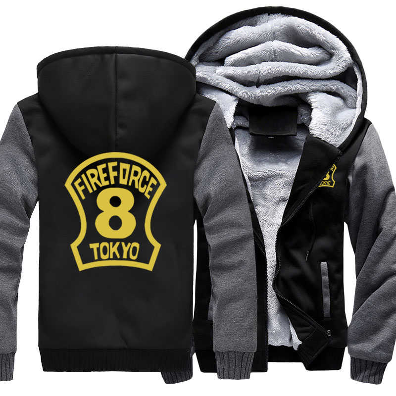 Anime Hooded Enn Enn No Shouboutai Fire Force Team 8 Thicken Hoodie Zipper Jacket Sweatshirts MEN WOMEN Fleece Outwear Coat top
