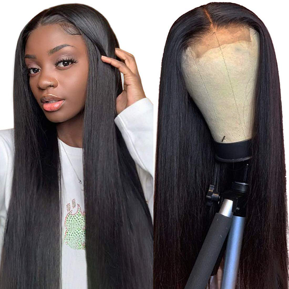 Fechamento do laço perucas de cabelo humano em linha reta pré arrancadas cabelo do bebê 4x4 150% malaio remy perucas de cabelo humano perucas de renda frontal para mulher