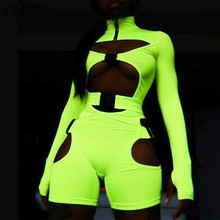 GBYXTY manga larga cuello alto hebilla neón Color Playsuit 2019 otoño mujeres Skinny Biker Playsuit Hollow Out Club mamelucos ZA1696(China)