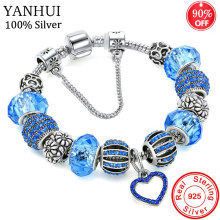 90% OFF! Original Solid 925 Silver Blue Charm Bracelet Bangle with Love and Flower Crystal Beads Safety Chain Bracelet For Women(China)