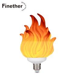 Светодиодный светильник с эффектом пламени с 3d-печатью, лампа с эффектом мерцания, декоративная лампа с эффектом пламени E27, светодиодный св...