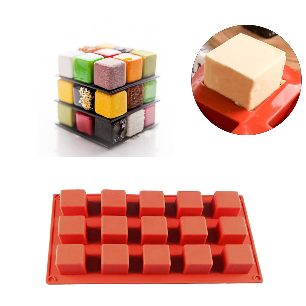 NICEYARD Chocolate Cake Mold Handmade Soap For DIY Soap Kitchen dining and bar supplies 15 Grids Square Silicone Soap Molds