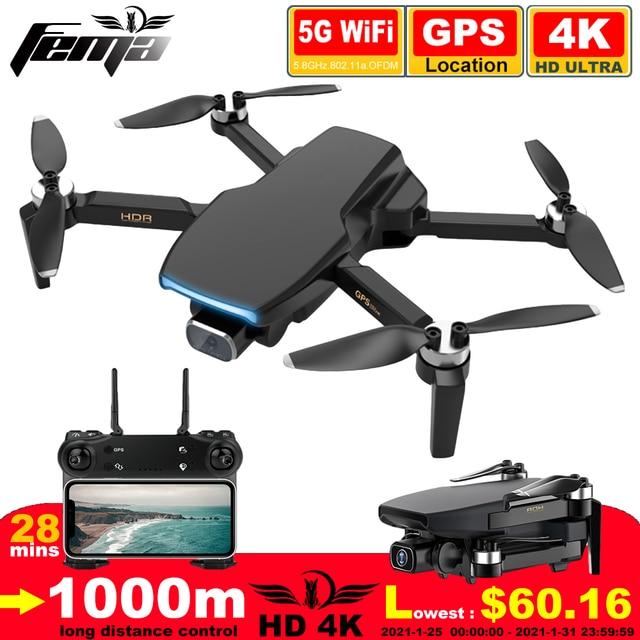 Zangão sem escova de fema s3 gps com câmera 4k hd 5g wifi dron fpv zangão 25 minutos distância rc 1km profissional rc quadcopter pk ex5 1