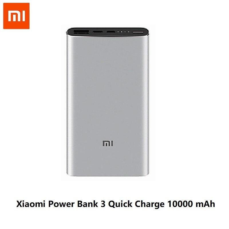 Xiaomi Mi 3 Pro 10000 мАч Внешний аккумулятор Двусторонняя Быстрая зарядка USB-C Двойной вход выход PLM12ZM 10000 мАч Внешний аккумулятор для мобильного телефона - Цвет: Xiaomi 10000 Silver
