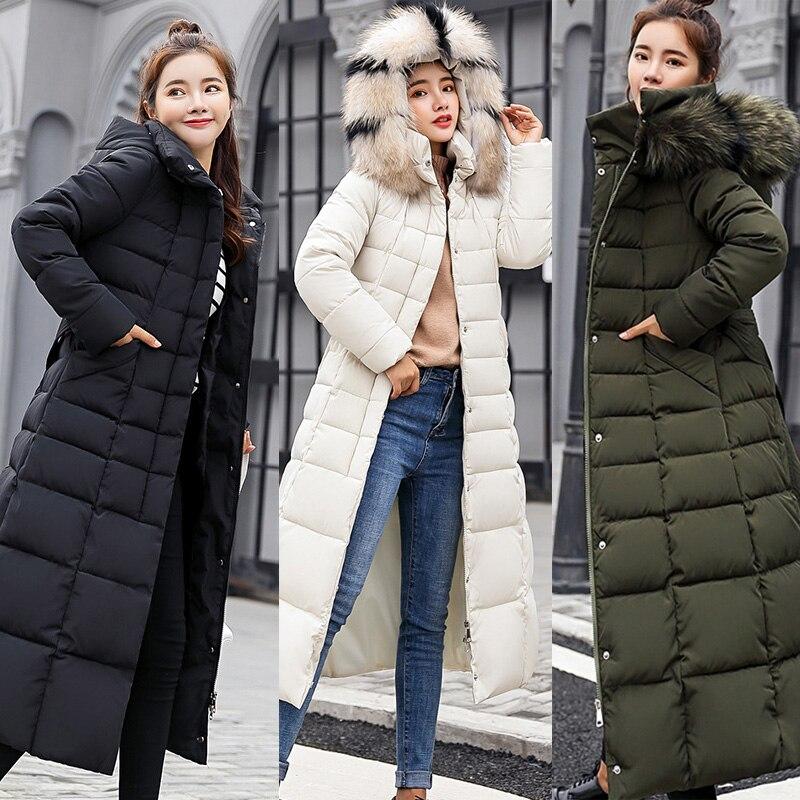 Women Winter Down Coat Jacket Warm Hooded Big Fur Collar Womens Parkas Casual Plus Size Loose Solid Long Coat Female Overcoat