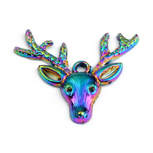 2PCS Rainbow Multicolor Zinc Based Alloy Pendant Laser Deer Head DIY Alloy Jewelry Making Accessories For Necklace Earring