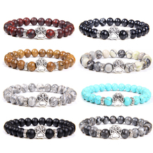 Natural Stone Beads Bracelet Dog Claw Paw Alloy Accessories Bloodstone Turquoise
