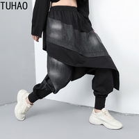 TUHAO Autumn Joggers Woman Patchwork Denim Harem Pants Personality Streetwear Fake Two Piece Casual Long Trousers T196030