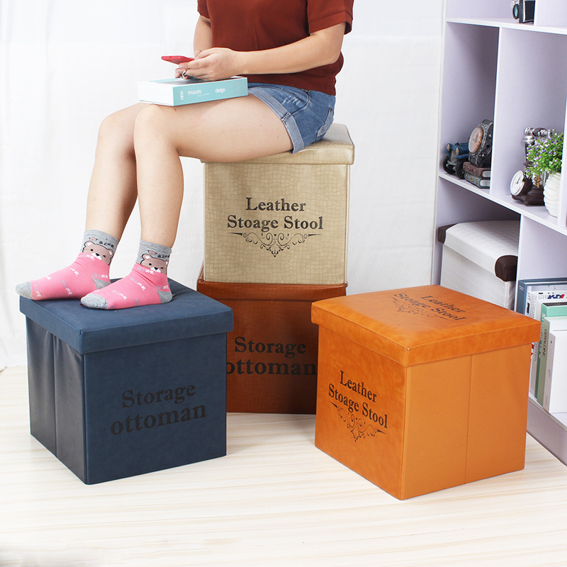 Manufacturers Direct Selling Multi-functional Stool Changing His Shoes PU Leather Embossed Storage Chair Who Can Sit This Foldin