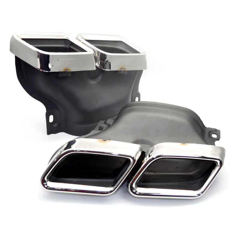 1 пара серебристых/черных наконечников глушителя выхлопной трубы 304 нержавеющая сталь для Mercedes Benz W205 Class C C200 C300 C260 C180