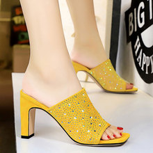 wetkiss plus size 33 43 high quality 2018 genuine leather women slippers square low heel summer solid color mules women shoes 2020 Fashion Mules Shoes Women High Heel Color Diamond Sandals Slippers Heeled Square Head Open Toe Suede Women Summer