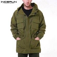 Fashion Men Jackets Casual-Coats Long-Sleeve Outdoor Outerwear INCERUN Zipper Solid Hooded