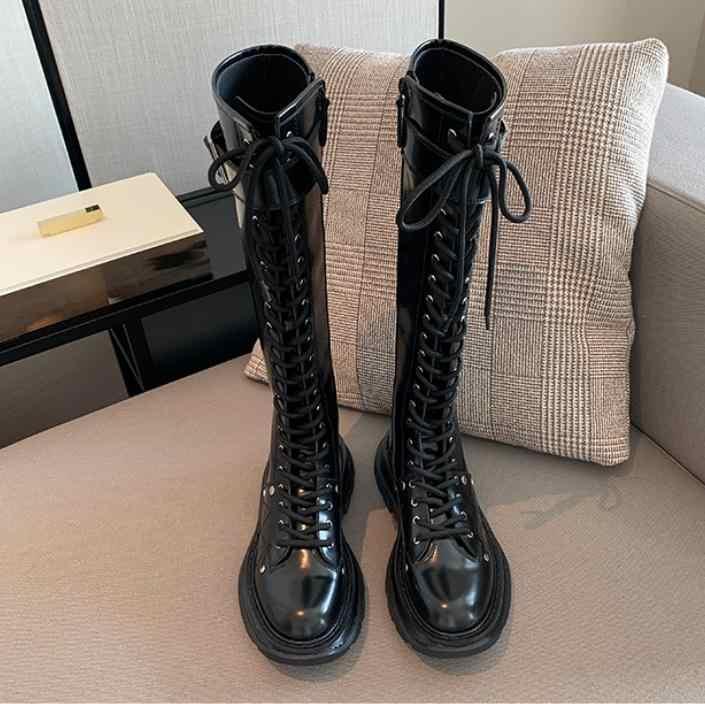 Oberschenkel Hohe Stiefel Frauen Luxus Botas Mujer Lace Up Schuhe Frauen Dicke Sohle Botines Mujer Mode Buty Damskie Leder Schuhe