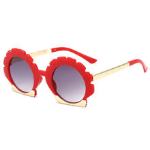 Fashion flower sunglasses korean version round frame petal children