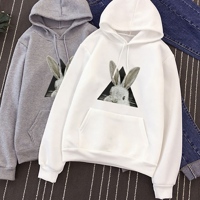 2019 Autumn Winter Hot Sale rabbit print warm mens hoodies Harajuku japanese streetwear funny Animal pattern Brief white clothes