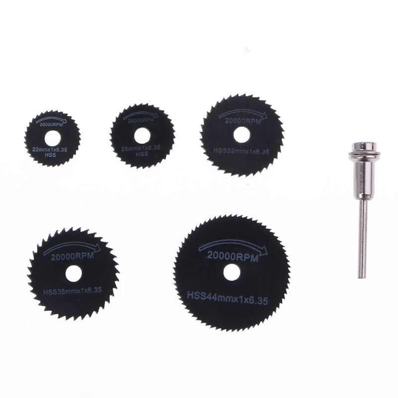 New 6Pcs Drill Accessories HSS Mini Circular Saw Blades Power Tools Wood Cutting Disc Grinding Wheel Set For Dremel Tools