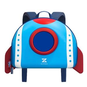 Image 2 - NOHOO Mochila para niños pequeños, morral escolar con diseño de cohete en 3D de dibujos animados, para guardería