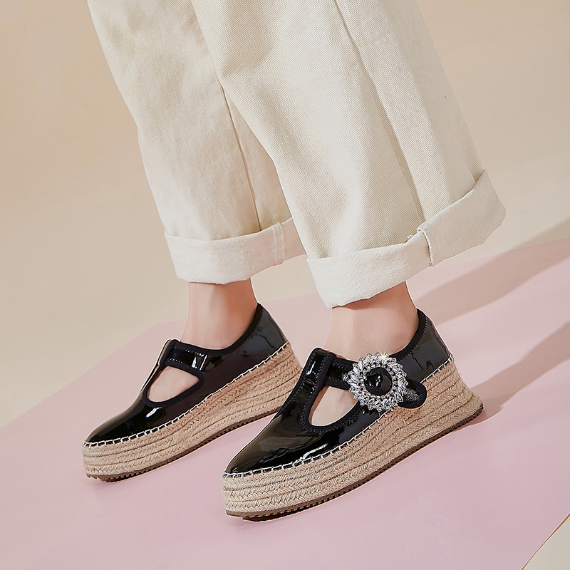 Image 5 - Womens real leather t strap platform flats loafers leisure soft 
