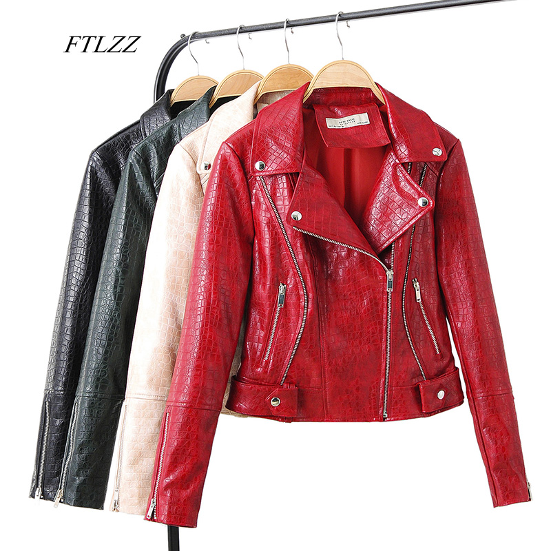 FTLZZ Autumn Women Faux Soft Leather Serpentine Jacket Short Coats Turndown Collar Rivet Zipper Black Red Punk Leather Outerwear