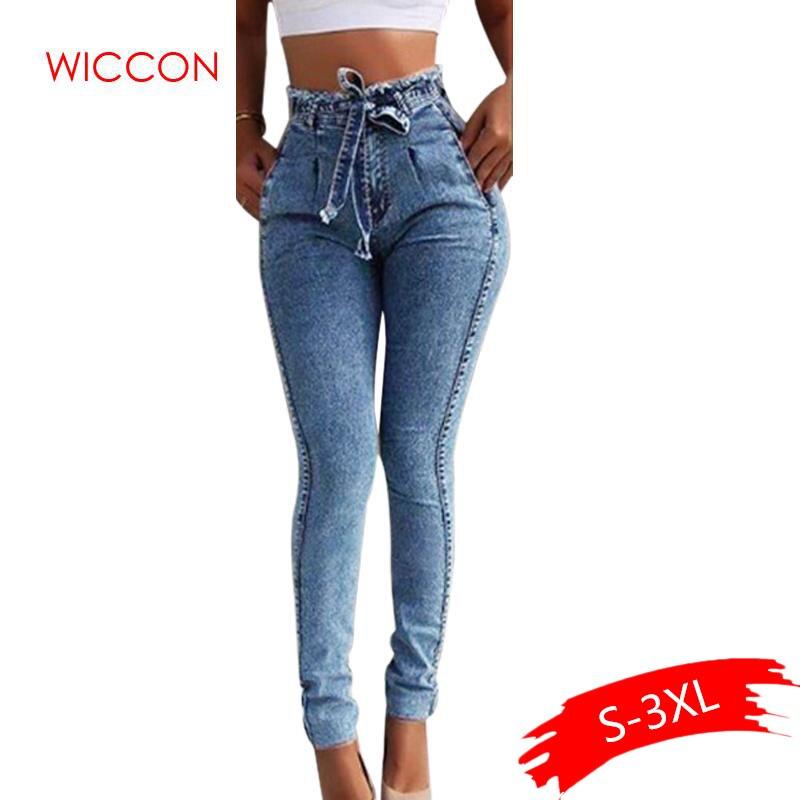 Summer High Waist   Jeans   Women Streetwear Bandage Denim Plus Size   Jeans   Femme Pencil Pants Spring Skinny   Jeans