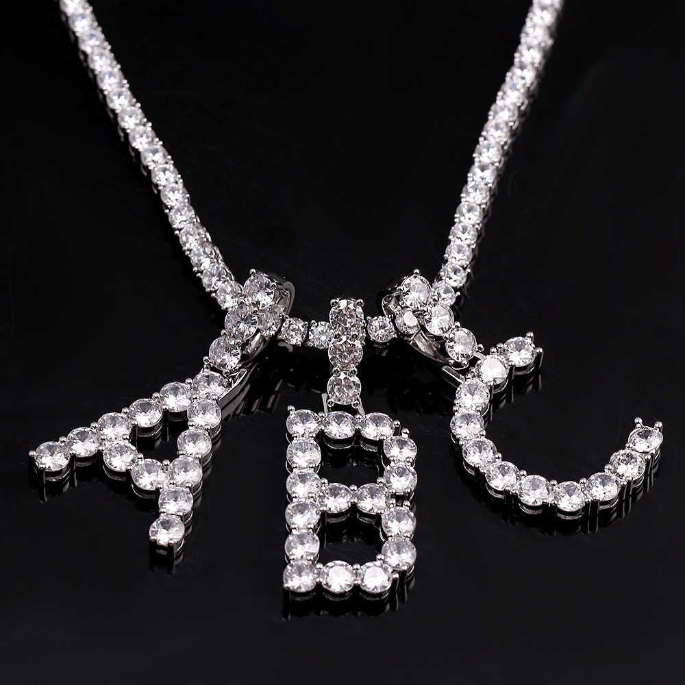 Cyrkon tenis litery naszyjniki wisiorek dla kobiet mężczyzn kolor srebrny moda biżuteria Hip Hop spersonalizowana nazwa CZ łańcuch tenisowy