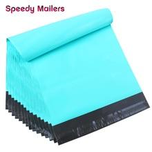 Speedy Mailers 10x13 cali 100 sztuk turkusowy zielony Poly Mailer kolorowe torby pocztowe poli samoklejący plastikowy kopertówka do pakowania