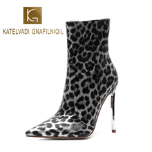 KATELVADI Womens Boots Winter Ankle Women Leopard PU 12.5CM Thin Night Club Pumps Pointed Toe Extremely Sexy K-553