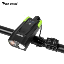 WEST BIKING Bike Bicycle Light For MTB Mountain Waterproof USB Bicycle Cycling Front LED Light Cycling Bike Accessories Whistle bikein road bike led front light taillight usb rechargeable light cycling mountain bike handlebar mtb bicycle accessories