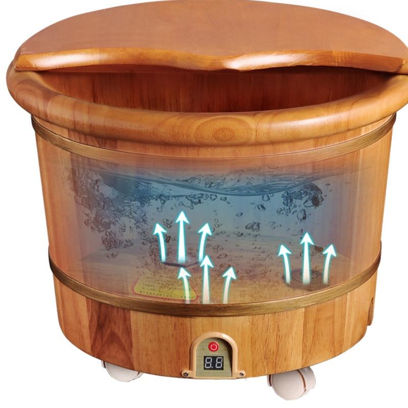 Foot Bath Barrel Wooden Household Electric Heating Thermostatic Foot Bath Barrel Automatic Deep Barrel Artifact