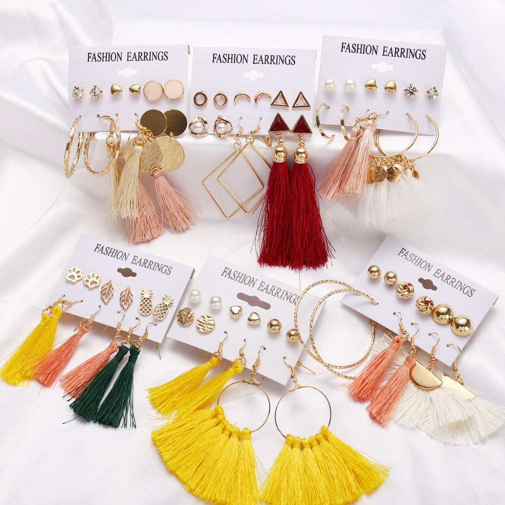 Louleur 8 Bohemian Styles Long Tassel Earrings Set For Women Girls Fashion Heart Stud Earring Cheap Brincos Female Jewelry image