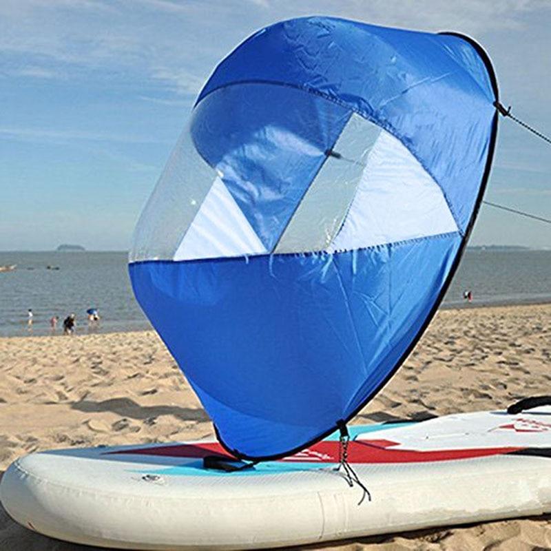 Żagiel składana łódź kajak wiatr żagiel deska Sup żeglarstwo kajak skok wiosło łodzie wiosłowe wiatr przezroczyste okienko dropship