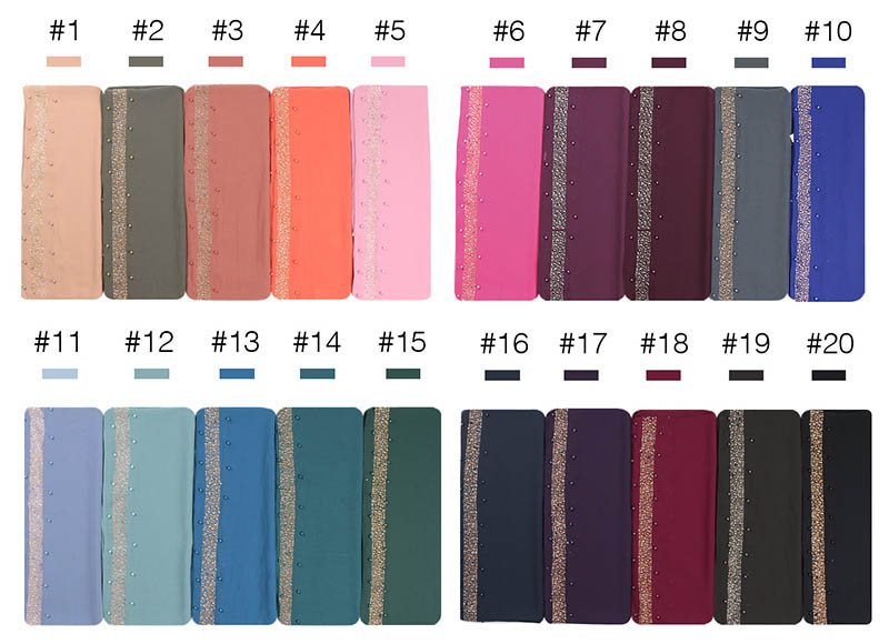 Image 5 - Beads bubble chiffon hijab scarf glitter hijab plain shawls muslim scarves headscarf pearls wraps headband scarves 10pcs/lot-in Women's Scarves from Apparel Accessories