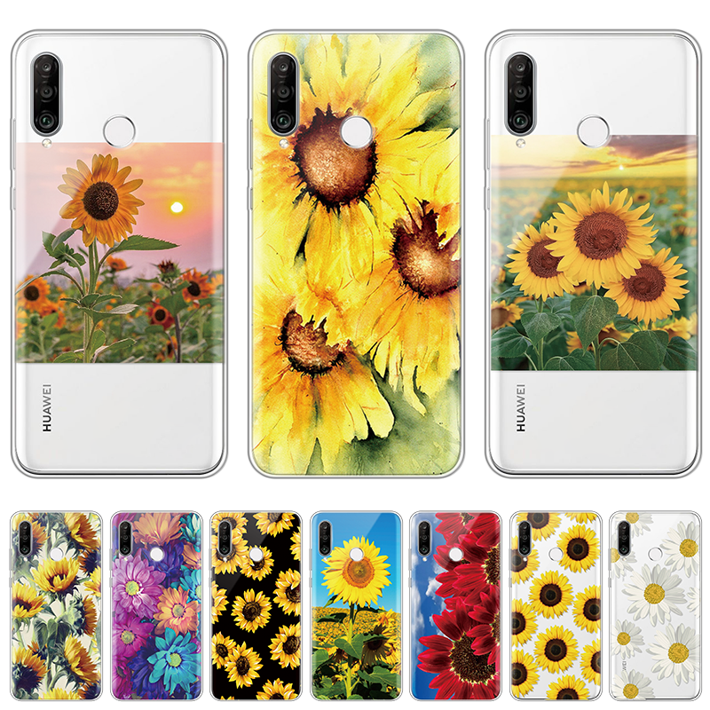 Sunflower TPU Phone Case For <font><b>Huawei</b></font> Y7 <font><b>Y6</b></font> Y9 Prime <font><b>2019</b></font> Mate 30 20 Honor 20 Pro 10 Lite 30S 20i 10i 9X 8X Silicone Covers Clear image