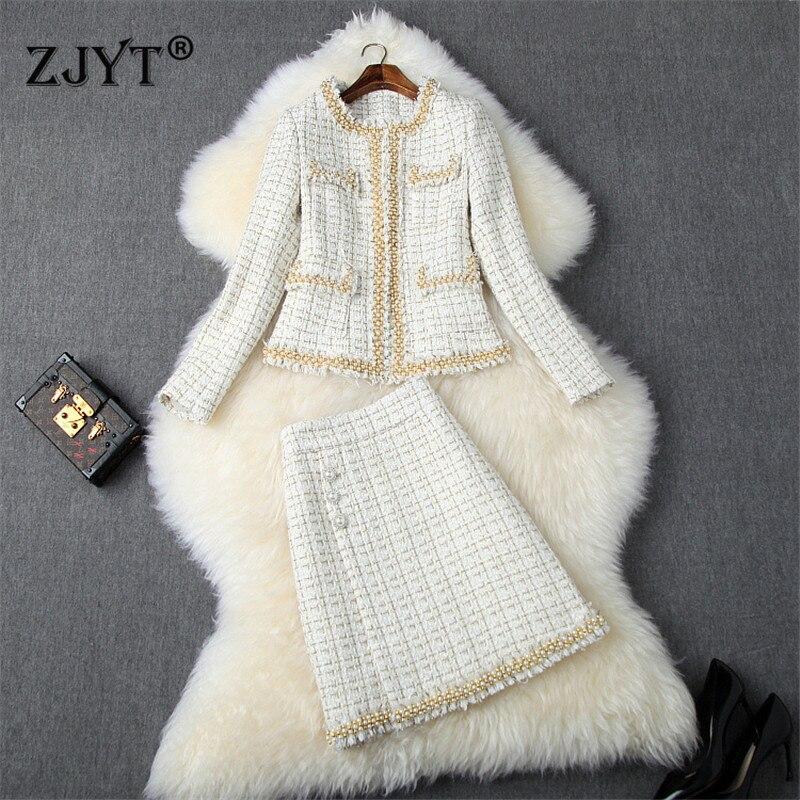 Top Brand Fashion Runway Skirt 2Piece Set Women 2019 Autumn Winter Luxury Pearls Beading Tweed Woolen Jacket And Skirt Suit Set