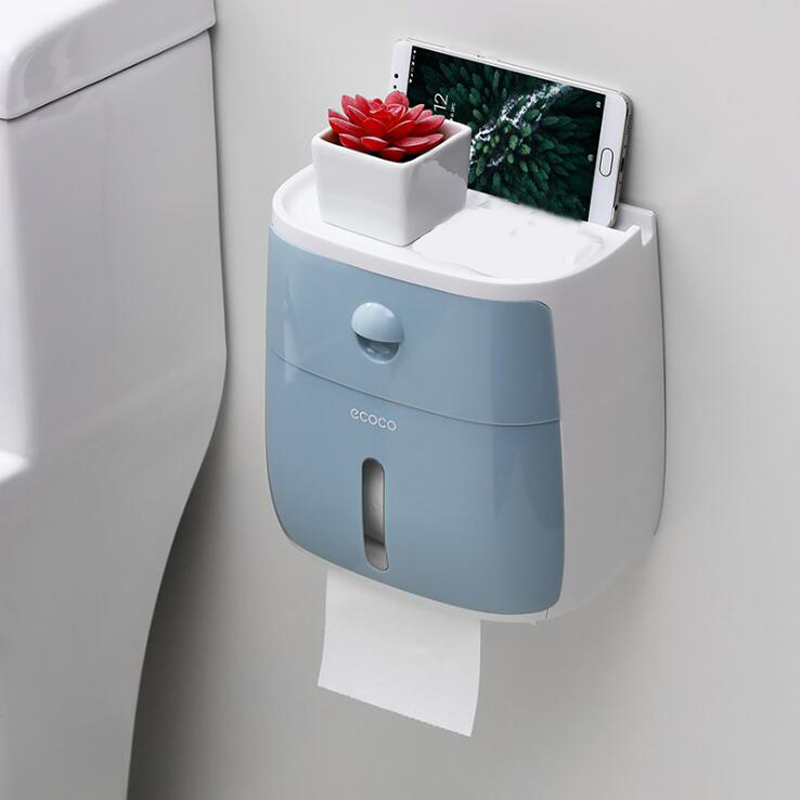 Wall Mounted Bathroom Toilet Waterproof Tissue Box with Drawer Plastic Multifold Paper Towels Holder Storage Box Product