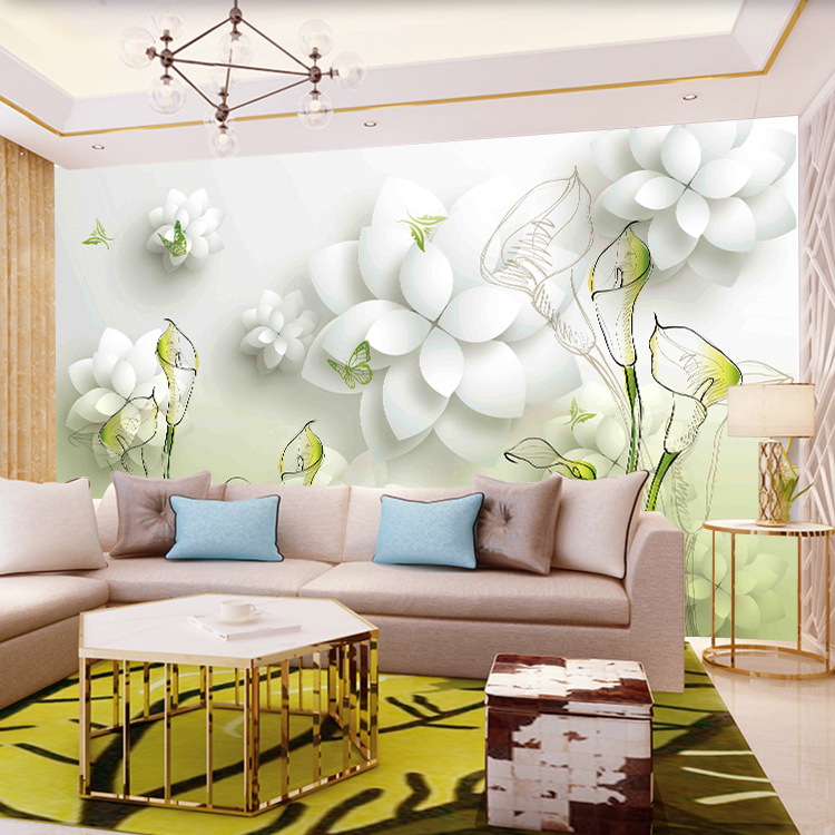 TV Backdrop Wallpaper Seamless Large Mural Living Room Chinese Style Wallpaper 3D Hand-Painted Common Calla