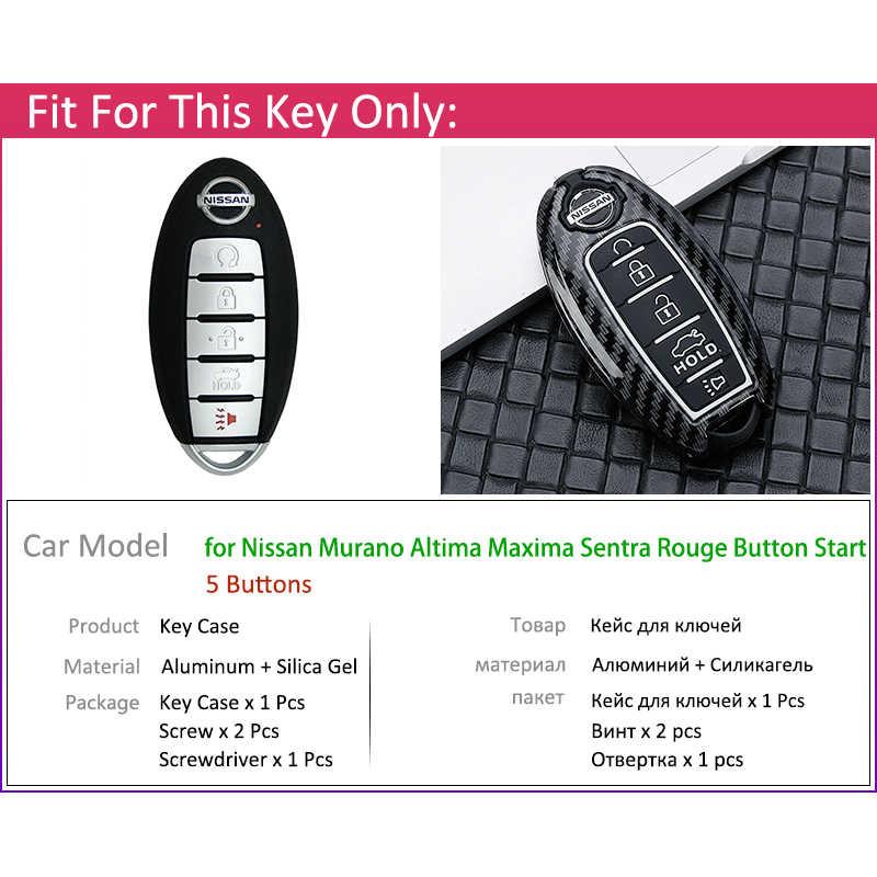 金属炭素繊維車のキーカバーケースシェル 5 ボタン日産アルティマムラーノマキシマセントラルージュキーホルダーリング車アクセサリー