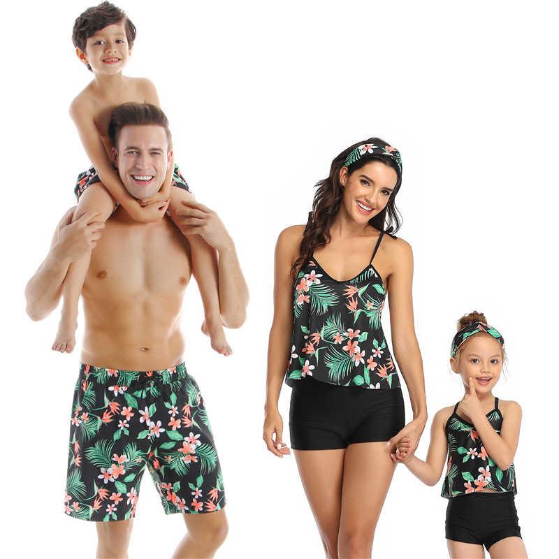 2020 ฤดูร้อนใหม่สำหรับครอบครัวชุดว่ายน้ำแม่ลูกสาวการพิมพ์ชุดว่ายน้ำ MOM And Me บิกินี่พ่อและ SON กางเกงขาสั้นชุดว่ายน้ำ